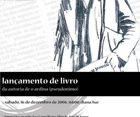 """""""O Ardina, o Livro Sonhado"""" – lançamento no dia 16, no Diana Bar"""