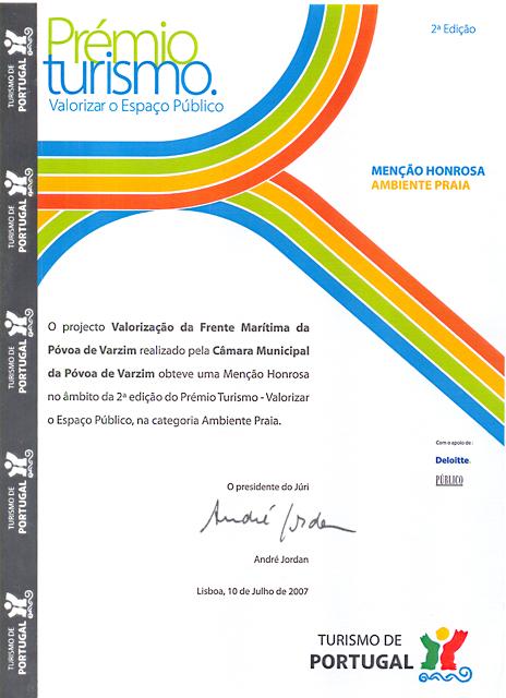 Diploma Prémio Turismo 2ª edição