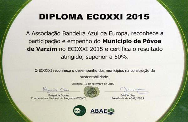 Município da Póvoa de Varzim voltou a ser distinguido com o galardão ECOXXI