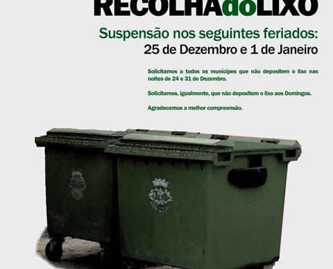Suspensão da Recolha do Lixo na época natalícia
