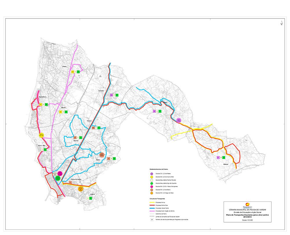 Mapa da rede de transportes escolares