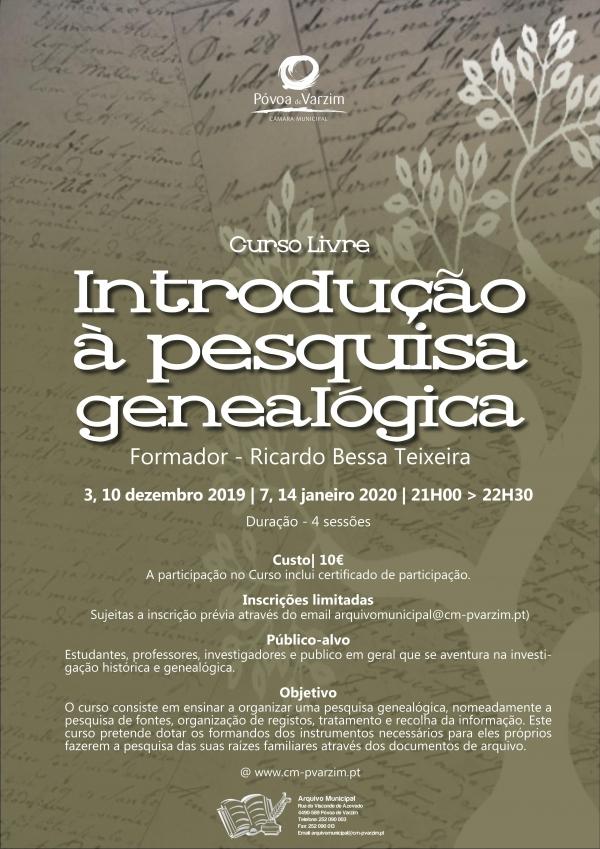 """Curso livre """"Introdução à pesquisa genealógica"""""""