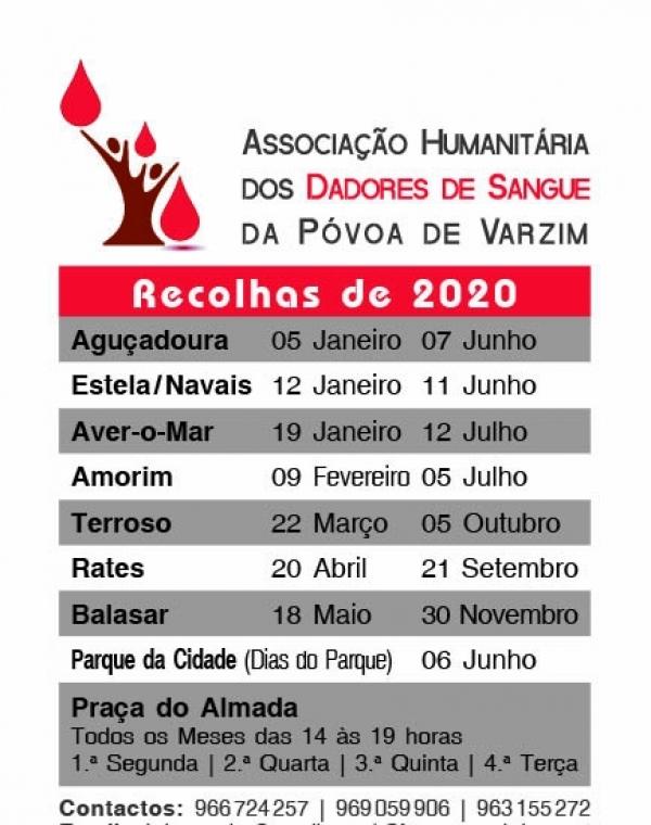 Recolhas de Sangue: Calendário 2020